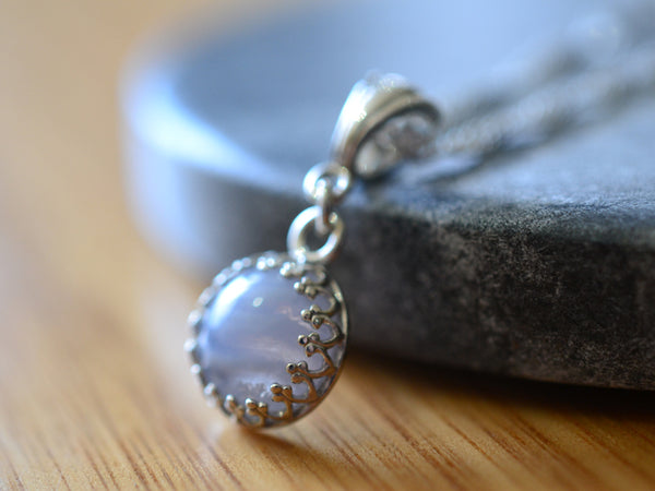 Handmade Blue Lace Agate Necklace with Sterling Silver Chain