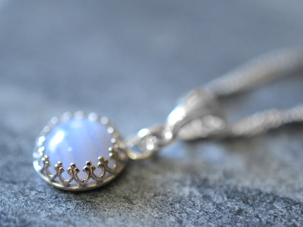Simple Sterling Silver Blue Lace Agate Gemstone Pendant