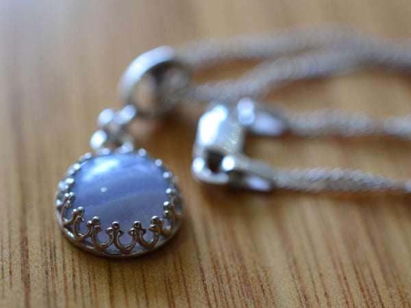 Dainty 10mm Blue Lace Agate Necklace in Sterling Silver