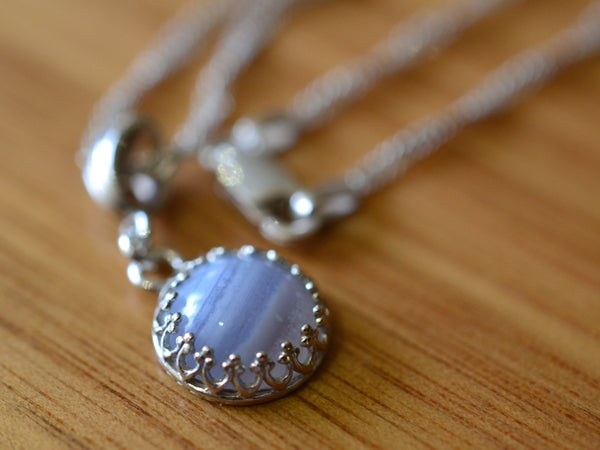 Simple 10mm Blue Lace Agate Pendant with Sterling Silver Chain