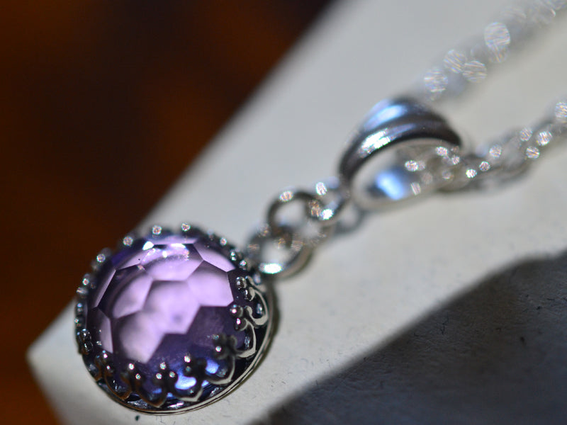 Pink Amethyst Necklace with Sterling Silver Chain