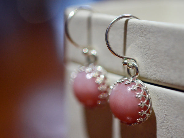 Natural Pink Opal Dangly Earrings in Sterling Silver
