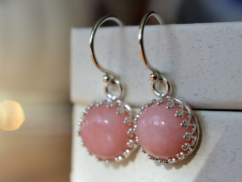 10mm Peruvian Pink Opal Earrings in Sterling Silver