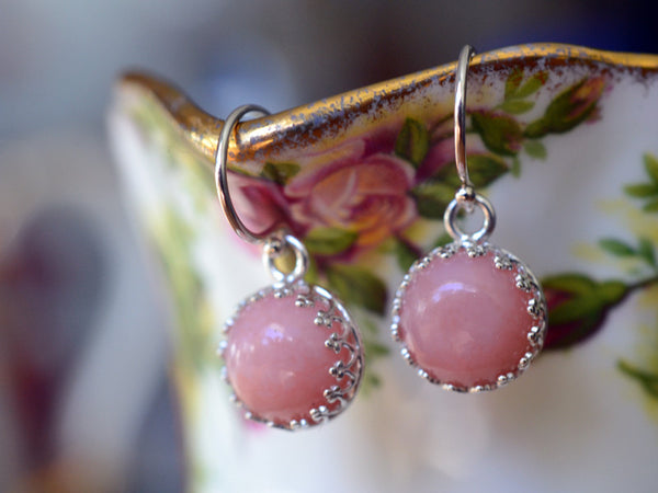 Handmade 10mm Pink Opal Earrings in Sterling Silver
