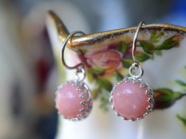 10mm Pink Opal Earrings with Sterling Silver Earwires