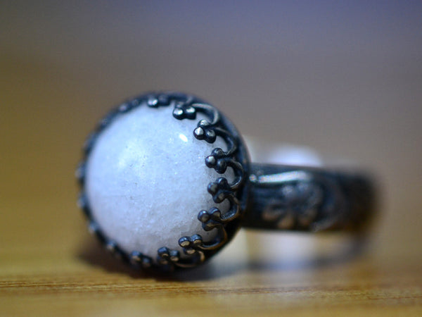 Gothic Oxidized Floral Silver 10mm Quartzite Statement Ring