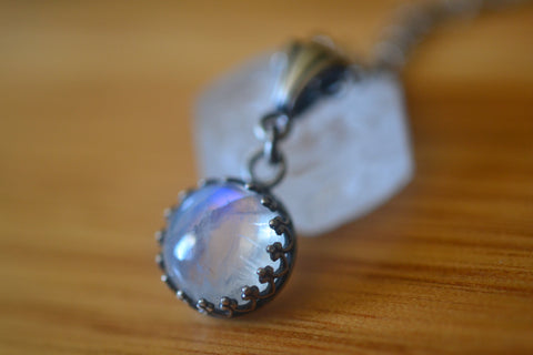 Gothic Antiqued Silver Rainbow Moonstone Bezel Necklace