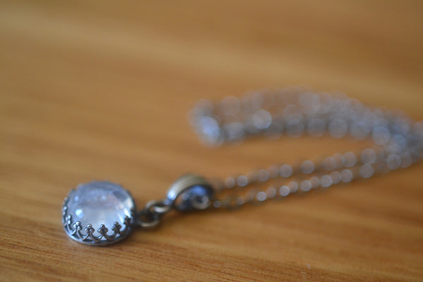 Natural Rainbow Moonstone Crystal Necklace in Antiqued Silver