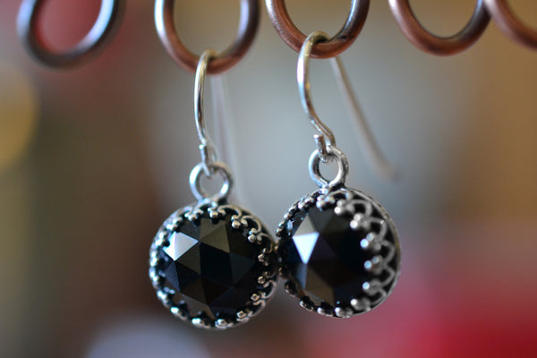 Simple Sterling Silver Bezel Set Black Spinel Drop Earrings
