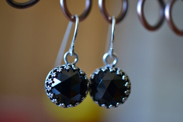 Women's Minimalist Silver Bezel Set Black Spinel Earrings