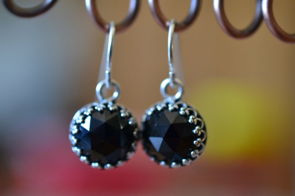 Jet Black Spinel Crystal Earrings in Sterling Silver