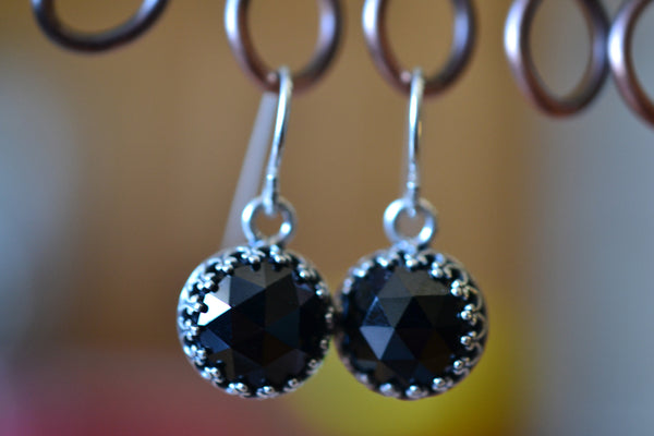 10mm Rose Cut Black Spinel Gemstone Earrings in Sterling Silver