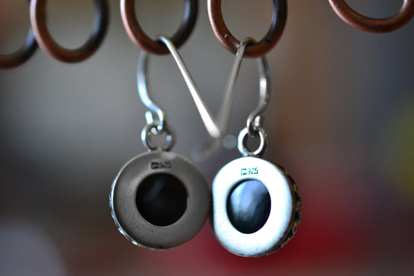 Open Backed Bezel Set Black Spinel Gemstone Dangles in Sterling