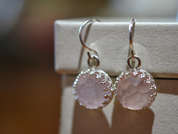 10mm Rose Quartz Earrings with Silver Earwires
