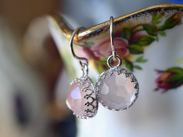 Honeycomb Cut 10mm Rose Quartz Earrings in Sterling Silver