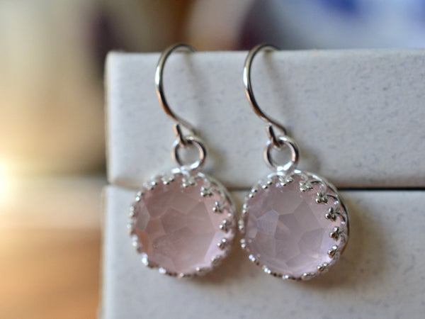 Handmade Rose Quartz Earrings in Sterling Silver