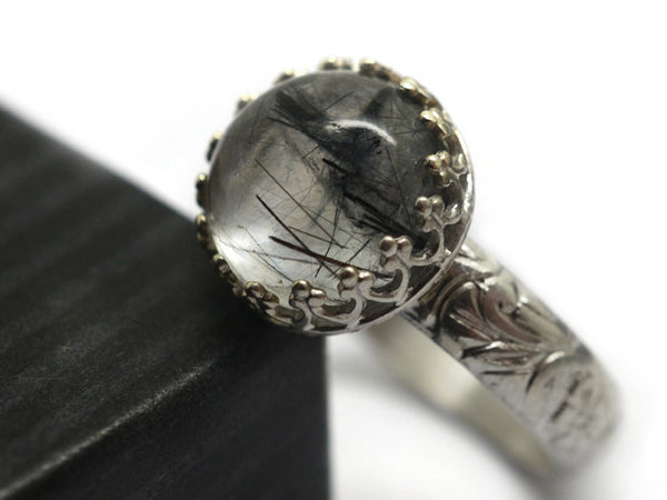 Handmade Floral Silver & Tourmalated Quartz Statement Ring