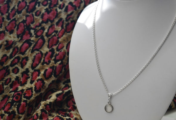 Handmade 10mm White Moonstone Bridal Pendant in Silver