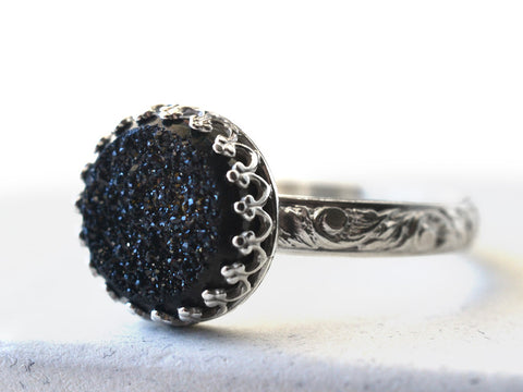 Black Druzy Agate Statement Ring in Floral Silver