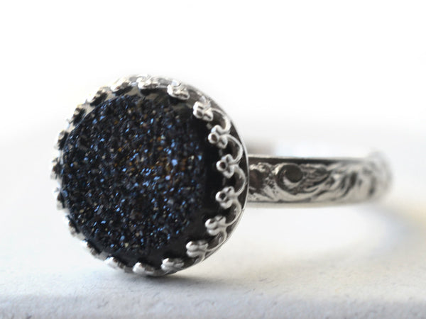 Women's Floral Silver Black Drusy Statement Ring