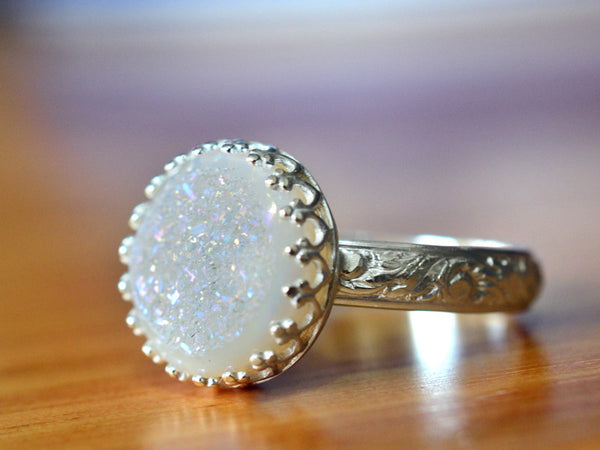 Handmade Sterling Silver Renaissance Style 12mm White Druzy Ring