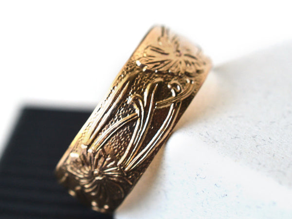 14K Yellow Gold Floral Art Nouveau Wide Wedding Band