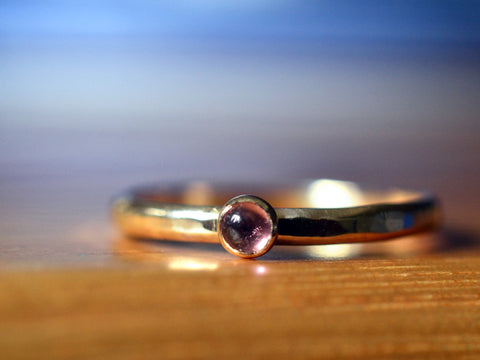 Handmade Solid 14K Gold Pink Tourmaline Engagement Ring