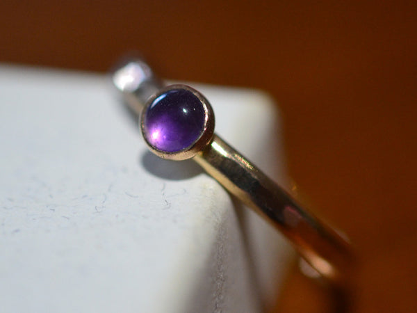 Natural Amethyst Engagement Ring in 14K Gold