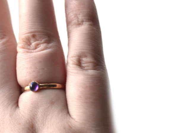 African Amethyst Engagement Ring in 14K Yellow Gold