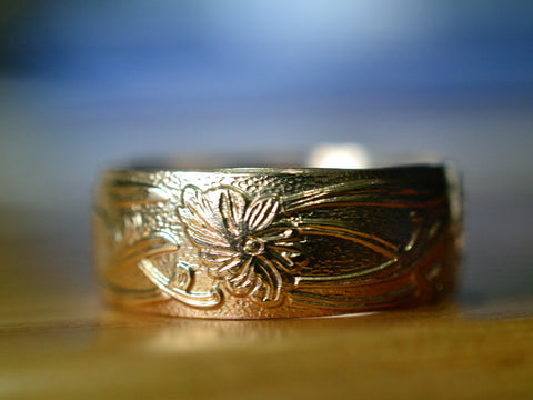Handmade 14K Yellow Gold Art Nouveau Wedding Band