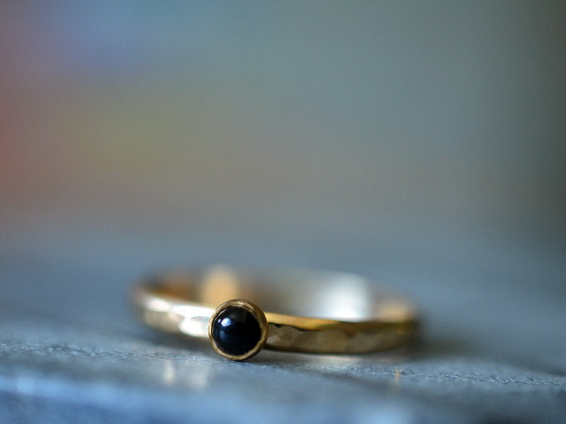 Simple 3mm Black Onyx Ring in 14K Yellow Gold