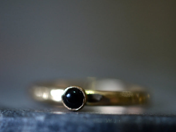 Dainty Little 3mm Black Onyx Stack Ring in 14K Gold