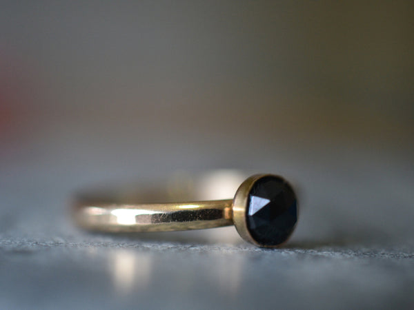 Black Spinel Engagement Ring in 14ct Yellow Gold With Engraving