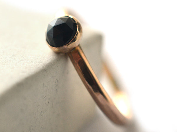 Ethical Black Spinel Engagement Ring in Recycled 14ct Gold