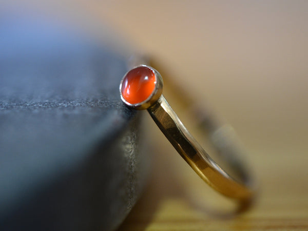 Solid 14K Yellow Gold Stack Ring with 4mm Carnelian