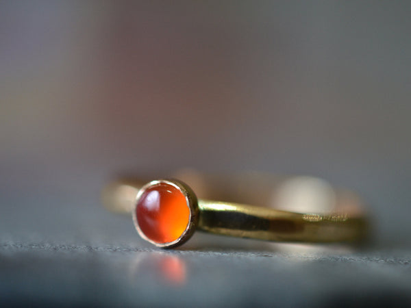 Natural Carnelian Cabochon Ring in 14ct Yellow Gold