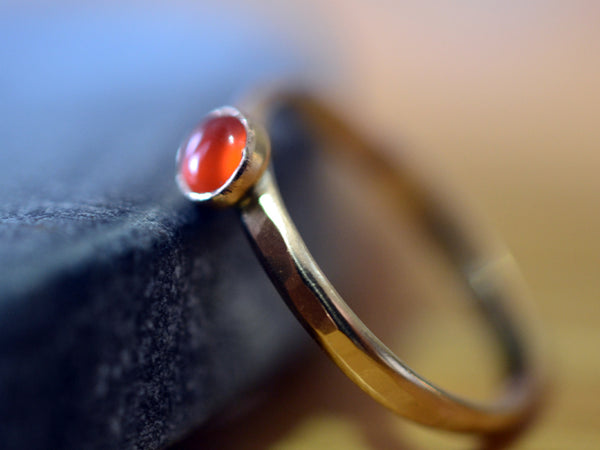 Hammered 14K Yellow Gold & 4mm Carnelian Bezel Ring