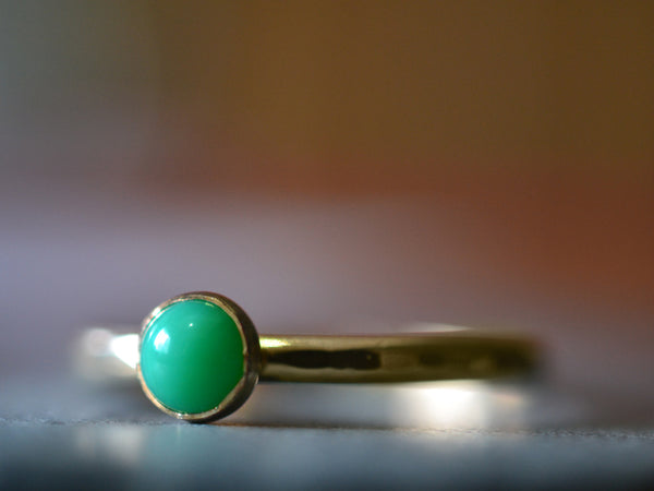 Personalised 14ct Gold Chrysoprase Ring for Women