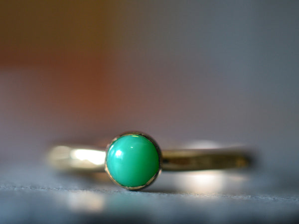 Custom Engraved 5mm Chrysoprase Ring in 14K Gold