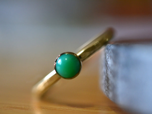 Handmade 14K Gold & 5mm Chrysoprase Ring