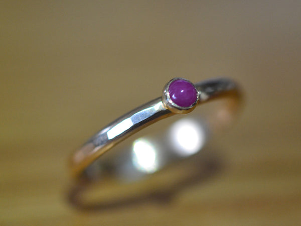 Handmade Dainty Ruby Stack Ring in Recycled Yellow Gold