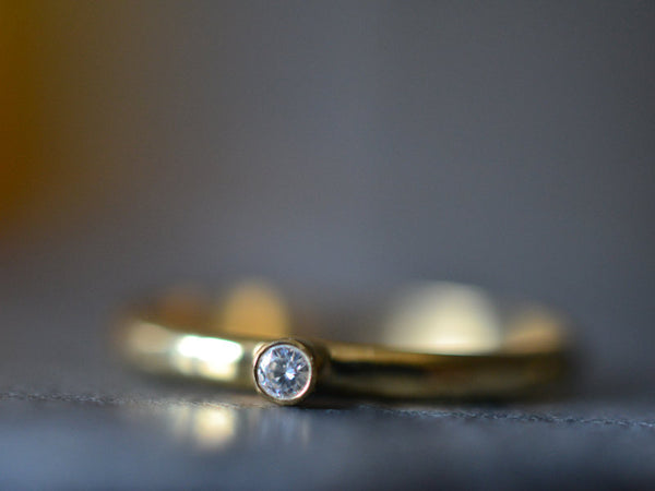 Tiny White Diamond Engagement Ring in 14K Yellow Gold
