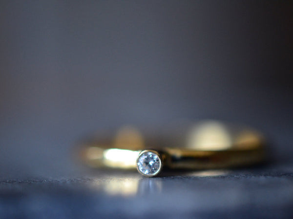 Dainty Clear Diamond Engagement Ring in 14K Yellow Gold