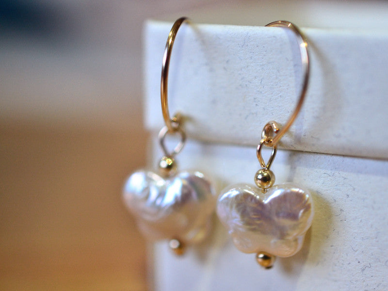 Handmade 14K Gold Filled Butterfly Pearl Bridal Earrings