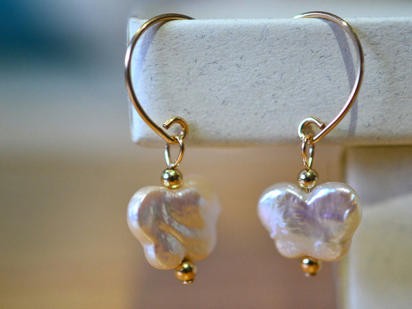 Handmade 14K Gold Filled Butterfly Freshwater Pearl Earrings