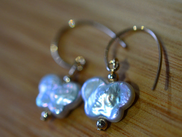 Handmade Butterfly Pearl Earrings with 14K Gold Filled Hooks
