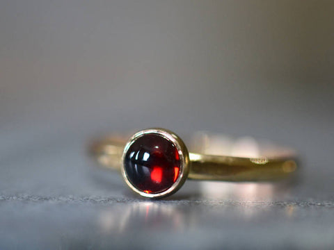 Simple 14K Gold & 5mm Garnet Engagement Ring