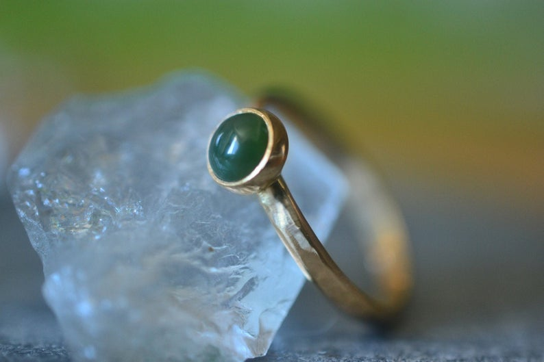 Simple 5mm Green Jade Ring in 14K Yellow Gold