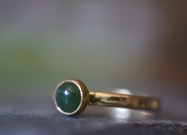Nephrite Jade Cabochon Ring in 14K Yellow Gold
