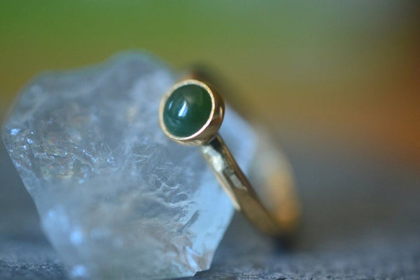 14K Yellow Gold Bezel Set Green Nephrite Jade Ring